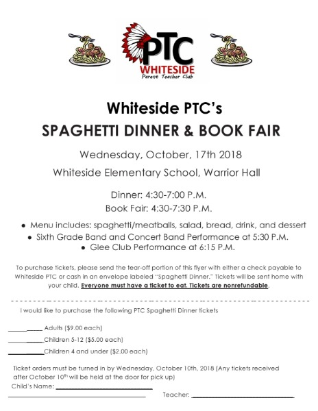 Whiteside PTC's Spaghetti Dinner and Book Fair